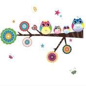Owl Family Playing on Branches for Kidsroom Nursery Wall Decal