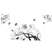 Beautiful Wisteria Flowers Vine and Flying Butterflies Livingroom Art Wall Stickers