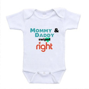 Mommy and Daddy Swiped Right Tinder Parody Funny Baby Bodysuits