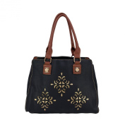 Premium Soft Glitter Floral Black Satchel Top Handle Shoulder Bag Handbag