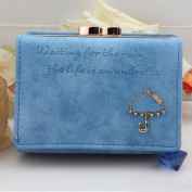 Blue Red(TM) Nobby Womens Vintage Cute Layers Suede Fabric With Umbrella Pattern Zipper Chic Design Card Wallets