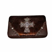Premium Rhinestone Large Cross Leather Women's Wallet in Black and Brown. New with Fast Shipping.