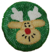 E.a@market Creative Handwork DIY Beaded Change Purse Santa Elk Coin Purse Green