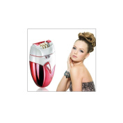 HomeTek USA Rechargeable and Wireless Epilator Hair Remover, Red and White, 550ml