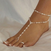 Doinshop Cute Nice Funny Womens Beach Imitation Pearl Barefoot Sandal Foot Jewellery Anklet Chain