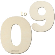 The Crafts Outlet 10cm Wooden Number Set, 0.6cm Thick, Numbers 0-9