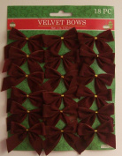 6.4cm Mini Dark Red Velvet Christmas Bows