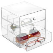 mDesign Eyeglass Organiser with 3 Drawers