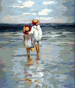 Greek Art Paintworks Paint Colour By Number Kits,See the Sea,30cm by 41cm