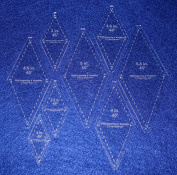 Diamond Templates 8 Pc Set No Tips 5.1cm - 14cm - Clear 0.3cm 45 Degree