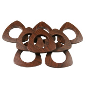 Triangle #10 Plastic Grommets, 3.5cm , 8 Sets, Dark Wood