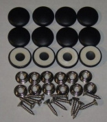 Set Of 12 Dura Snap Upholstery Buttons #36 Black Vinyl