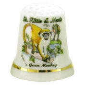 St.Kitts & Nevis Caribbean Green Monkey Pearl Souvenir Collectible Thimble agc