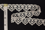 2.5cm Scalloped Organza Lace Trim, 10 Yard Lot, Ivory