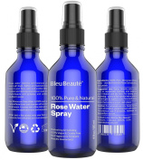 120ml ROSE WATER SPRAY by Bleu Beauté - 100% Pure Facial Toner with a Tender Floral Scent - IT WORKS