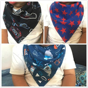 Mini-Factory Fashionable Bandana Bibs For Baby Boys And Toddlers / Cute Stylish Patterns Design / Super Absorbent / Drooling / Teething [Pack Of 3]