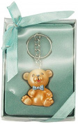 Firefly Imports Baby Shower Party Favour Polyresin Baby Teddy Bear Key Chain, Light Blue