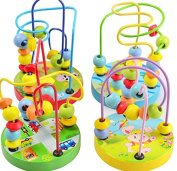GoodPlay New Baby Mini Wooden Beads Wire Maze Multi Colour Educational Toy(Car/Rabbit/Fish/Cow 4 styles will send Random