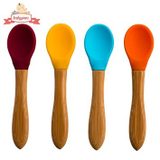 BEST Baby Feeding Spoons - 4 Colour Pack - BPA Free Silicone Spoon with Natural Bamboo Handle - 5 Star Rated with Lifetime Guarantee