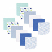 Luvable Friends 12 Pack Washcloths, Blue Whale