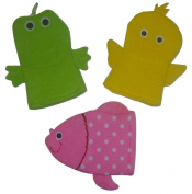 Terrycloth Baby Bath Animal Hand Puppet Wash Mitt - Set of 3 - Duck, Frog, Fish