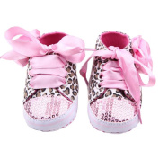 ELee Baby Girl Lace Up Sequins Leopard Rose Non Slip Toddler Crib Shoes First Walkers