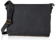 """LEABAGS - Unisex Leather Satchel Flapover Shoulder Bag """"OXFORD"""" Vintage Style made of Genuine Buffalo Leather"""