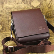 Genuine Leather Men's Messenger Bag - Brown, Square