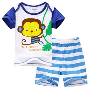 Baby Boys Shorts & Tee Shirt Set With Little Monkey Design