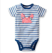 Baby Girls Striped Short Sleeved Bodysuit With Cute Pink Embroidered Crab