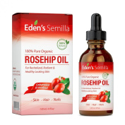 100% Pure Rosehip Oil - 120ml - Certified ORGANIC - Cold pressed & unrefined - NON Greasy HIGH absorbency - Use daily - Anti ageing, nourishes, hydrates and visibly reduces fine lines, scars, stretch marks and skin pigmentations - Suitable for all skin ..