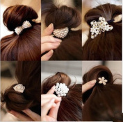 Cuhair(tm) Women Girl baby girl 6pcs elastic ponytail holders hair tie rope Rubber bands accessories, Small Pearl Crystal Diamond Bow design