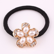 cuhair(TM) fashion 1pc full pearl five leaves flower women girl baby kids elastic hair ponytail holders hair tie bands rubber rope acessories