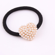 cuhair(TM) fashion 1pc full pearl heart women girl baby kids elastic hair ponytail holders hair tie bands rubber rope acessories