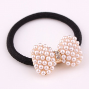 cuhair(TM) fashion 1pc full pearl bow women girl baby kids elastic hair ponytail holders hair tie bands rubber rope acessories