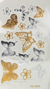 Super Metallic Gold Silver Black Jewellery Temporary Bling Tattoo Butterfly Tatoo 1 Sheet Pack