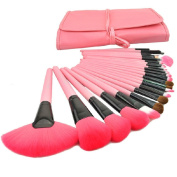 YINGMAN 24pcs Roll up Case Cosmetic Brushes Kits Pro Wooden Handle Makeup Brushes Tools