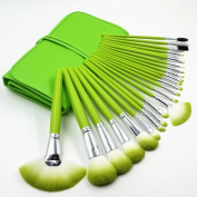 YINGMAN 24Pcs Makeup Brushes Set Tools Foundation Eyeshadow Eyeliner Superior Soft Green