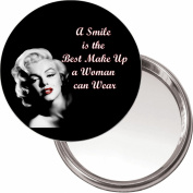 "Button, Compact Makeup Mirror with Marilyn Monroe image ""A smile is the best make up a woman can wear"" delivered in a black organza bag."