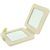 Mele Ivory Leatherette Double Compact Travel Cosmetic Mirror Press Stud MELE 522
