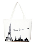 Voguees Canvas Shopping Shoulder Tote Bag Paris Tower