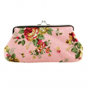 Women's Flower Pattern Mini Handbag Hasp Coin Purse Pouch Wallet Clutch Bag