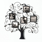 2015 JULY NEW Product!! Adeco Brown Black Decorative Tree Style Collage Bronze Iron Metal Wall Family Tree Scroll Hanging Picture Photo Frame, 5 Opening , 10cm x 10cm Each