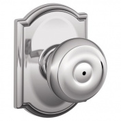 Schlage F40-GEO-CAM Privacy Georgian Door Knobset with the Decorative Camelot Ro, Polished Chrome