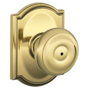 Schlage F40GEO605CAM Polished Brass Privacy Georgian Door Knobset with the Decorative Camelot Rose