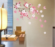 Denshine Stylish Peach Blossom Flowers & Butterflies Wall Stickers Home/Room/Office Decors Mural Art Decals Adhesive Decorative