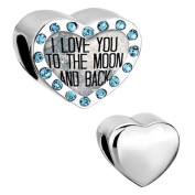 Heart I Love You To The Moon And Back Birthstone Light Blue Charms Beads fit Pandora Chamilia Bracelet