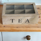 Wooden Hinged Tea Storage Compartment Box With Gift Tag
