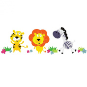 Jungle animals wall stickers - Tiger, Lion and Zebra - Available in the regular and large sizes - Wall decals - Wall graphics - Wall art