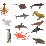 Hard Plastic Model Marine Animals Kids Toy Set of 12pcs Multi-colour